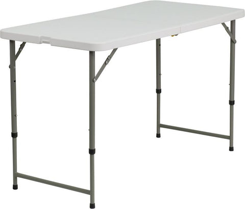 Flash Furniture DAD-YCZ-122Z-2-GG 24''W x 48''L Height Adjustable Granite White Plastic Folding Table - Peazz Furniture
