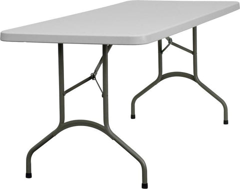 Flash Furniture DAD-YCZ-183B-GW-GG 30''W x 72''L Granite White Plastic Folding Table - Peazz Furniture
