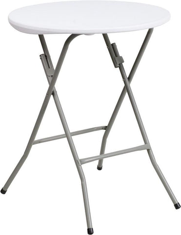 Flash Furniture DAD-YCZ-80R-1-SM-GW-GG 24'' Round Granite White Plastic Folding Table - Peazz Furniture