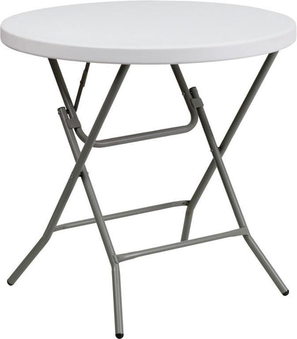 Flash Furniture DAD-YCZ-80R-GW-GG 32'' Round Granite White Plastic Folding Table - Peazz Furniture