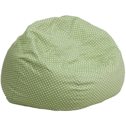 Flash Furniture DG-BEAN-LARGE-DOT-GRN-GG Oversized Green Dot Bean Bag Chair - Peazz Furniture