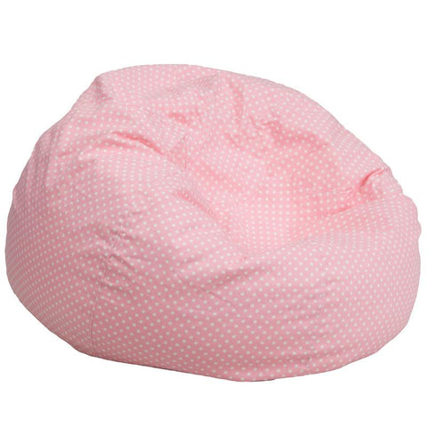 Flash Furniture DG-BEAN-LARGE-DOT-PK-GG Oversized Light Pink Dot Bean Bag Chair - Peazz Furniture