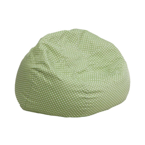 Flash Furniture DG-BEAN-SMALL-DOT-GRN-GG Small Green Dot Kids Bean Bag Chair - Peazz Furniture