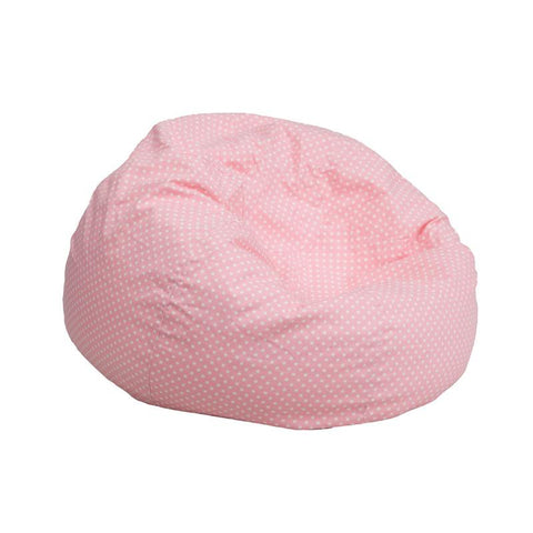 Flash Furniture DG-BEAN-SMALL-DOT-PK-GG Small Light Pink Dot Kids Bean Bag Chair - Peazz Furniture