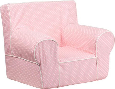 Flash Furniture DG-CH-KID-DOT-PK-GG Small Light Pink Dot Kids Chair with White Piping - Peazz Furniture