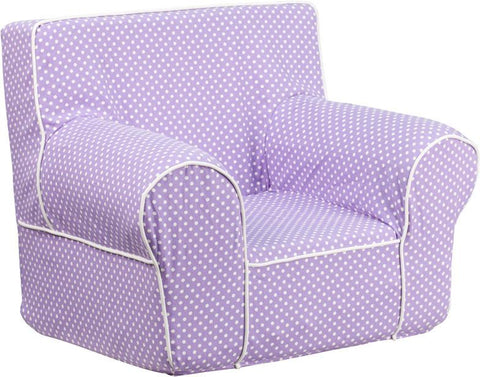 Flash Furniture DG-CH-KID-DOT-PUR-GG Small Lavender Dot Kids Chair with White Piping - Peazz Furniture
