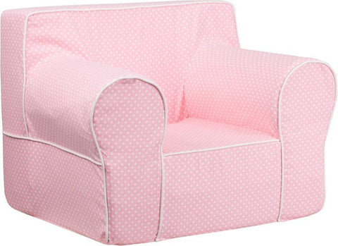 Flash Furniture DG-LGE-CH-KID-DOT-PK-GG Oversized Light Pink Dot Kids Chair with White Piping - Peazz Furniture