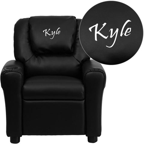 Flash Furniture DG-ULT-KID-BK-EMB-GG Personalized Black Vinyl Kids Recliner with Cup Holder and Headrest - Peazz Furniture