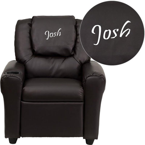 Flash Furniture DG-ULT-KID-BRN-EMB-GG Personalized Brown Vinyl Kids Recliner with Cup Holder and Headrest - Peazz Furniture