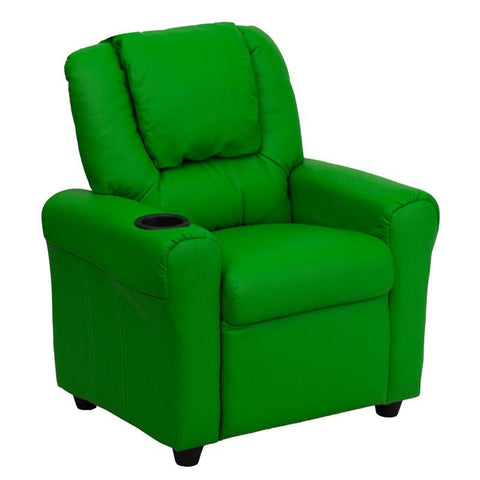 Contemporary Green Vinyl Kids Recliner with Cup Holder and Headrest DG-ULT-KID-GRN-GG by Flash Furniture - Peazz Furniture