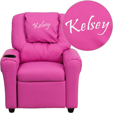 Flash Furniture DG-ULT-KID-HOT-PINK-EMB-GG Personalized Hot Pink Vinyl Kids Recliner with Cup Holder and Headrest - Peazz Furniture