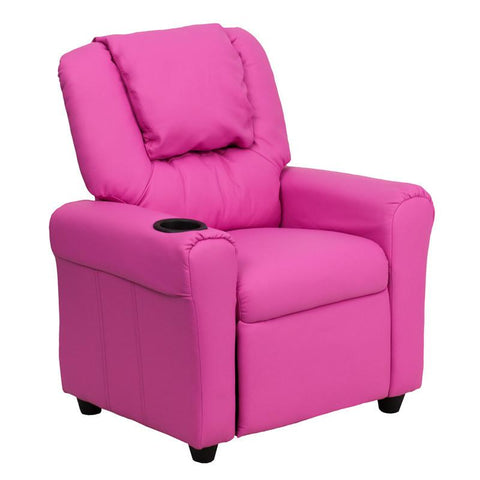 Contemporary Hot Pink Vinyl Kids Recliner with Cup Holder and Headrest DG-ULT-KID-HOT-PINK-GG by Flash Furniture - Peazz Furniture