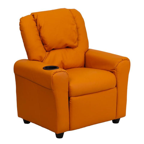 Contemporary Orange Vinyl Kids Recliner with Cup Holder and Headrest DG-ULT-KID-ORANGE-GG by Flash Furniture - Peazz Furniture