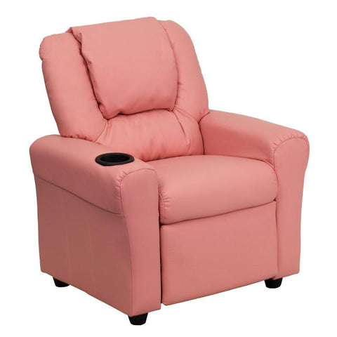 Contemporary Pink Vinyl Kids Recliner with Cup Holder and Headrest DG-ULT-KID-PINK-GG by Flash Furniture - Peazz Furniture