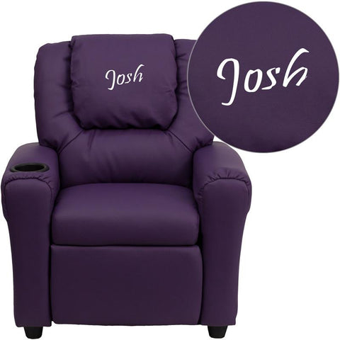 Flash Furniture DG-ULT-KID-PUR-EMB-GG Personalized Purple Vinyl Kids Recliner with Cup Holder and Headrest - Peazz Furniture