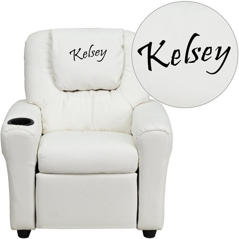 Flash Furniture DG-ULT-KID-WHITE-EMB-GG Personalized White Vinyl Kids Recliner with Cup Holder and Headrest - Peazz Furniture