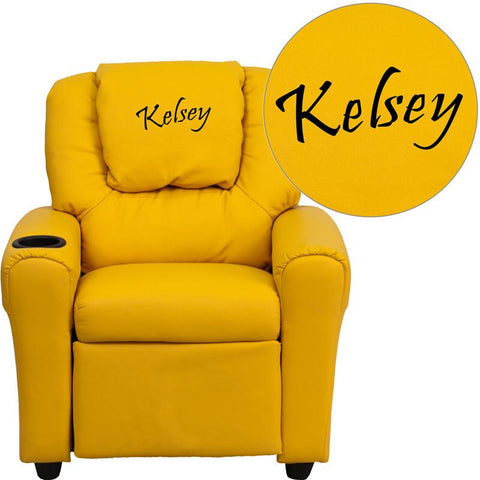 Flash Furniture DG-ULT-KID-YEL-EMB-GG Personalized Yellow Vinyl Kids Recliner with Cup Holder and Headrest - Peazz Furniture