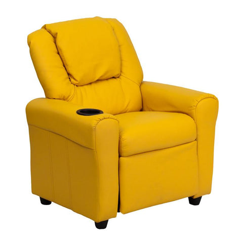 Contemporary Yellow Vinyl Kids Recliner with Cup Holder and Headrest DG-ULT-KID-YEL-GG by Flash Furniture - Peazz Furniture