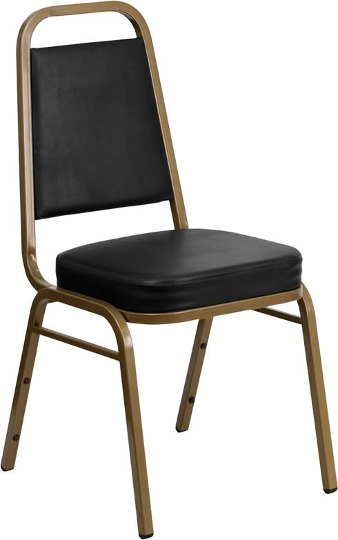 Flash Furniture FD-BHF-1-ALLGOLD-BK-GG HERCULES Series Trapezoidal Back Stacking Banquet Chair with Black Vinyl and 2.5'' Thick Seat - Gold Frame