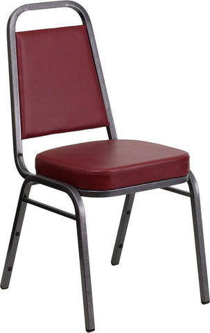 HERCULES Series Trapezoidal Back Stacking Banquet Chair with Burgundy Vinyl and 2.5'' Thick Seat - Silver Vein Frame FD-BHF-1-SILVERVEIN-BY-GG by Flash Furniture - Peazz Furniture