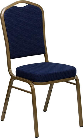 HERCULES Series Crown Back Stacking Banquet Chair with Navy Blue Patterned Fabric and 2.5'' Thick Seat - Gold Frame FD-C01-ALLGOLD-2056-GG by Flash Furniture - Peazz Furniture