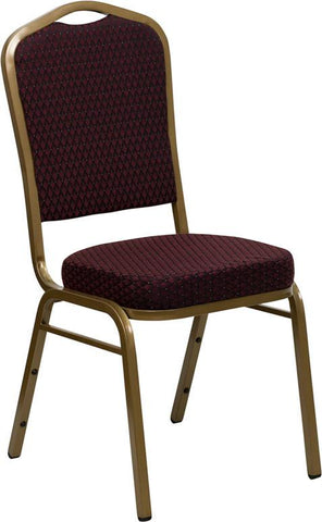 HERCULES Series Crown Back Stacking Banquet Chair with Burgundy Patterned Fabric and 2.5'' Thick Seat - Gold Frame FD-C01-ALLGOLD-EFE1679-GG by Flash Furniture - Peazz Furniture