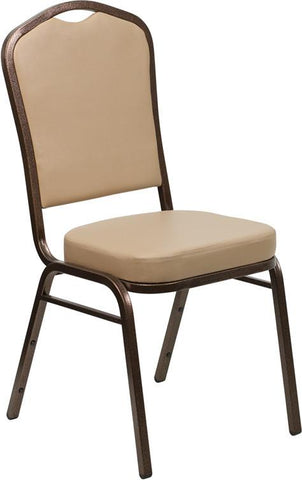 Flash Furniture FD-C01-COPPER-TN-VY-GG HERCULES Series Crown Back Stacking Banquet Chair with Tan Vinyl and 2.5'' Thick Seat - Copper Vein Frame - Peazz Furniture