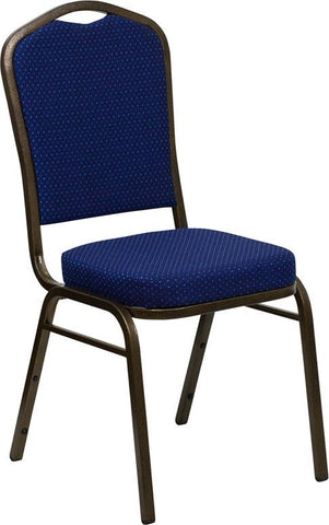 HERCULES Series Crown Back Stacking Banquet Chair with Navy Blue Patterned Fabric and 2.5'' Thick Seat - Gold Vein Frame FD-C01-GOLDVEIN-208-GG by Flash Furniture - Peazz Furniture
