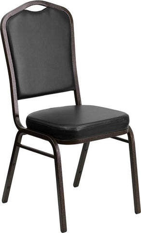 Flash Furniture FD-C01-GOLDVEIN-BK-VY-GG HERCULES Series Crown Back Stacking Banquet Chair with Black Vinyl and 2.5'' Thick Seat - Gold Vein Frame - Peazz Furniture