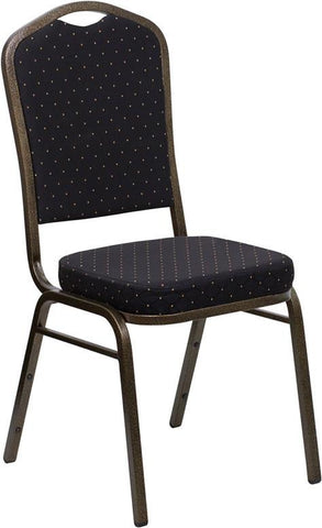 HERCULES Series Crown Back Stacking Banquet Chair with Black Patterned Fabric and 2.5'' Thick Seat - Gold Vein Frame FD-C01-GOLDVEIN-S0806-GG by Flash Furniture - Peazz Furniture