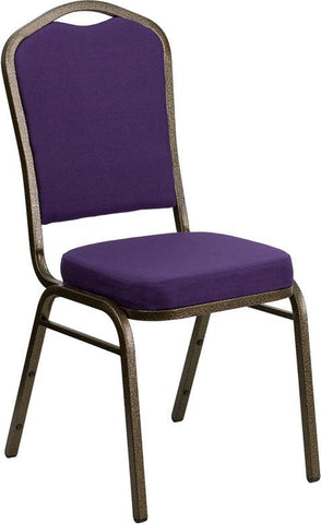 Flash Furniture FD-C01-PUR-GV-GG HERCULES Series Crown Back Stacking Banquet Chair with Purple Fabric and 2.5'' Thick Seat - Gold Vein Frame - Peazz Furniture