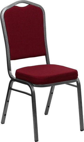 HERCULES Series Crown Back Stacking Banquet Chair with Burgundy Fabric and 2.5'' Thick Seat - Silver Vein Frame FD-C01-SILVERVEIN-3169-GG by Flash Furniture - Peazz Furniture