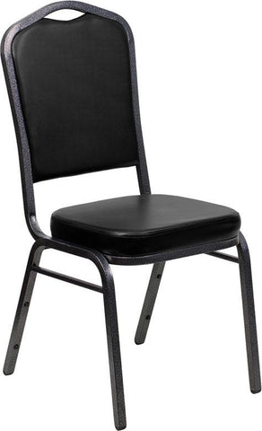 Flash Furniture FD-C01-SILVERVEIN-BK-VY-GG HERCULES Series Crown Back Stacking Banquet Chair with Black Vinyl and 2.5'' Thick Seat - Silver Vein Frame - Peazz Furniture