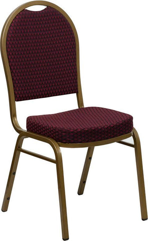 HERCULES Series Dome Back Stacking Banquet Chair with Burgundy Patterned Fabric and 2.5'' Thick Seat - Gold Frame FD-C03-ALLGOLD-EFE1679-GG by Flash Furniture - Peazz Furniture