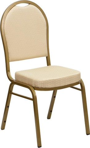 HERCULES Series Dome Back Stacking Banquet Chair with Beige Patterned Fabric and 2.5'' Thick Seat - Gold Frame FD-C03-ALLGOLD-H20124E-GG by Flash Furniture - Peazz Furniture