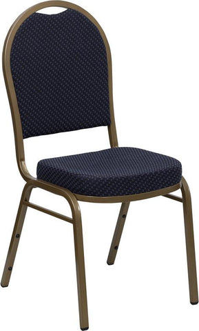 HERCULES Series Dome Back Stacking Banquet Chair with Navy Patterned Fabric and 2.5'' Thick Seat - Gold Frame FD-C03-ALLGOLD-H203774-GG by Flash Furniture - Peazz Furniture