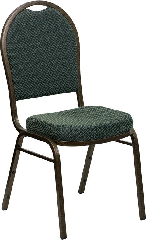 HERCULES Series Dome Back Stacking Banquet Chair with Green Patterned Fabric and 2.5'' Thick Seat - Gold Vein Frame FD-C03-GOLDVEIN-4003-GG by Flash F