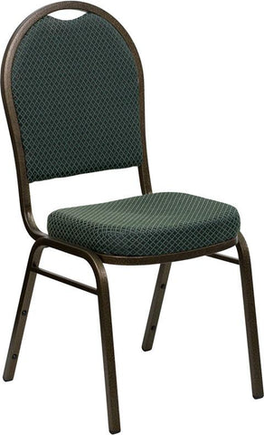 HERCULES Series Dome Back Stacking Banquet Chair with Green Patterned Fabric and 2.5'' Thick Seat - Gold Vein Frame FD-C03-GOLDVEIN-4003-GG by Flash Furniture - Peazz Furniture