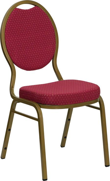 HERCULES Series Teardrop Back Stacking Banquet Chair with Burgundy Patterned Fabric and 2.5'' Thick Seat - Gold Frame FD-C04-ALLGOLD-2804-GG by Flash