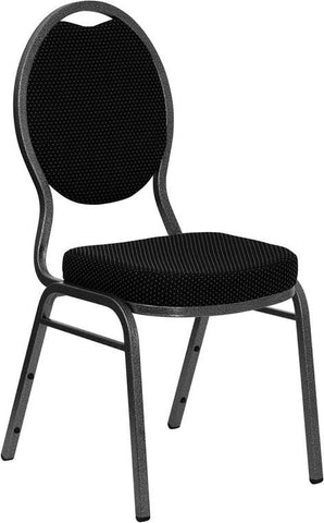 HERCULES Series Teardrop Back Stacking Banquet Chair with Black Patterned Fabric and 2.5'' Thick Seat - Silver Vein Frame FD-C04-SILVERVEIN-S076-GG by Flash Furniture - Peazz Furniture
