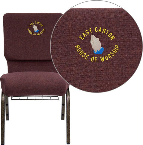 Flash Furniture FD-CH02185-GV-005-BAS-EMB-GG Embroidered HERCULES Series 18.5'' Wide Plum Church Chair with 4.25'' Thick Seat, Communion Cup Book Rack - Gold Vein Frame - Peazz Furniture