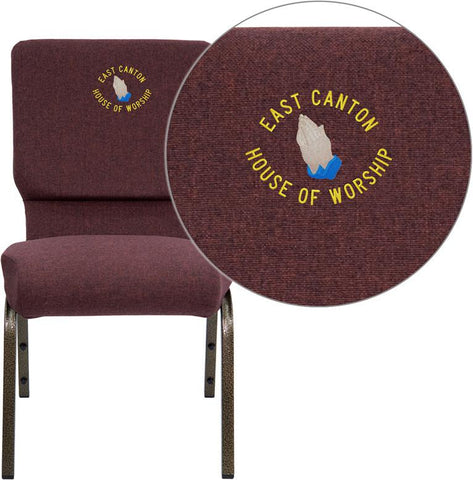 Flash Furniture FD-CH02185-GV-005-EMB-GG Embroidered HERCULES Series 18.5'' Wide Plum Stacking Church Chair with 4.25'' Thick Seat - Gold Vein Frame - Peazz Furniture