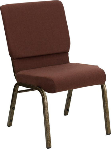 HERCULES Series 18.5'' Wide Brown Stacking Church Chair with 4.25'' Thick Seat - Gold Vein Frame FD-CH02185-GV-10355-GG by Flash Furniture - Peazz Furniture