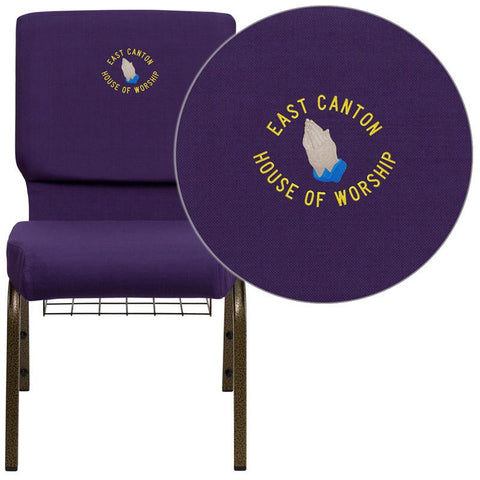 Flash Furniture FD-CH02185-GV-ROY-BAS-EMB-GG Embroidered HERCULES Series 18.5'' Wide Royal Purple Church Chair with 4.25'' Thick Seat, Communion Cup Book Rack - Gold Vein Frame - Peazz Furniture