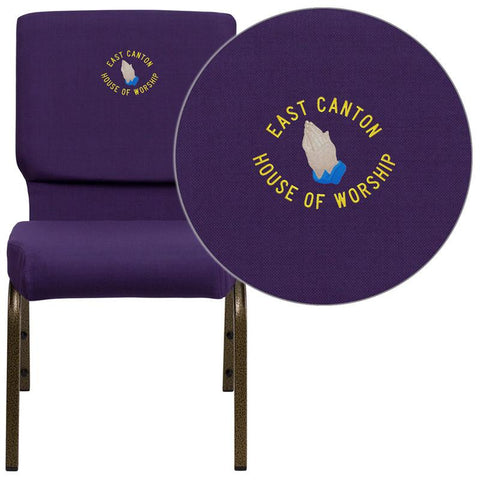 Flash Furniture FD-CH02185-GV-ROY-EMB-GG Embroidered HERCULES Series 18.5'' Wide Royal Purple Stacking Church Chair with 4.25'' Thick Seat - Gold Vein Frame - Peazz Furniture