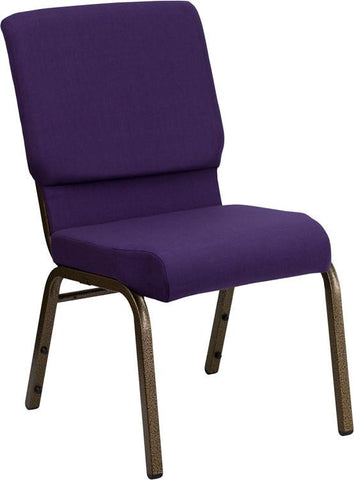 Flash Furniture FD-CH02185-GV-ROY-GG HERCULES Series 18.5'' Wide Royal Purple Stacking Church Chair with 4.25'' Thick Seat - Gold Vein Frame - Peazz Furniture