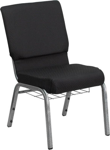 HERCULES Series 18.5'' Wide Black Patterned Church Chair with 4.25'' Thick Seat, Communion Cup Book Rack - Silver Vein Frame FD-CH02185-SV-JP02-BAS-G by Flash Furniture - Peazz Furniture
