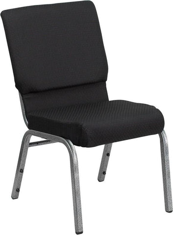 HERCULES Series 18.5'' Wide Black Patterned with 4.25'' Thick Seat Stacking Church Chair - Silver Vein Frame FD-CH02185-SV-JP02-GG by Flash Furniture - Peazz Furniture