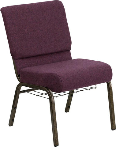 HERCULES Series 21'' Extra Wide Plum Church Chair with 4'' Thick Seat, Communion Cup Book Rack - Gold Vein Frame FD-CH0221-4-GV-005-BAS-GG by Flash Furniture - Peazz Furniture