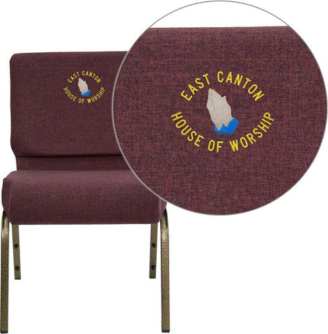 Flash Furniture FD-CH0221-4-GV-005-EMB-GG Embroidered HERCULES Series 21'' Extra Wide Plum Stacking Church Chair with 4'' Thick Seat - Gold Vein Frame - Peazz Furniture